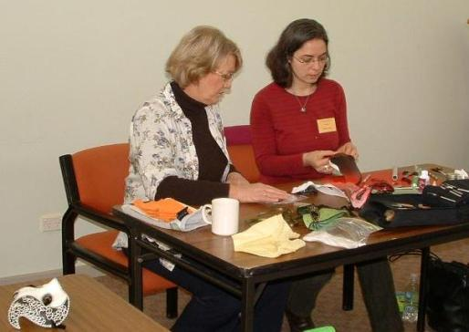 images/gallery/CCIP Instructors Graphics/Rachel Azulie Makins Clay Masks Class Contemporary Craft Retreat 2011.jpg